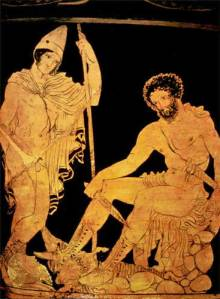 This is a red figure vase depicting Odysseus' lil' chat with Tiresias.